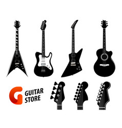 set of guitar silhouettes black color isolated on vector image