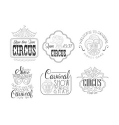 set of hand drawn signs for circus and vector image