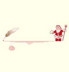 Silhouette of santa claus with a pen for writing vector