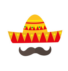 sombrero icon flat style mexican traditional vector image
