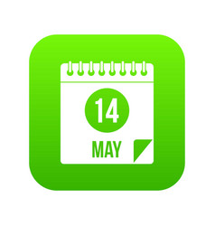 Spiral calendar page 14th of may icon digital vector