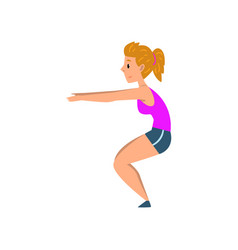sportive young woman doing squats active healthy vector image