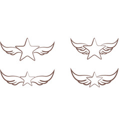 stars with wings vector image vector image