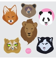 Stickers set of images of bored tired vector