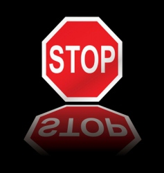 stop road sign reflection vector image vector image