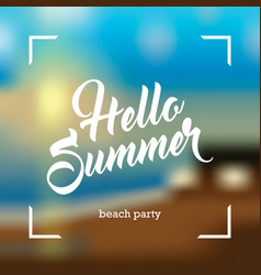 Summer card on blurred background vector