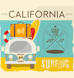 surfing retro hawaii poster vector image