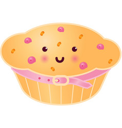 Sweet cupcake with berries vector