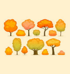 trees and bushes autumn forest park concept vector image