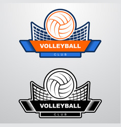 Volleyball logo template with ball flying over vector