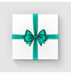 White Square Gift Box with Green Bow and Ribbon vector