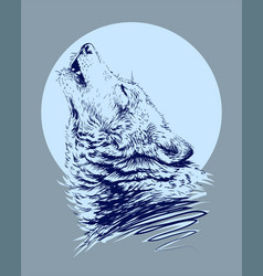 wolf howling at moon vector image