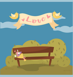 wooden bench in the park pair of flying birds vector image