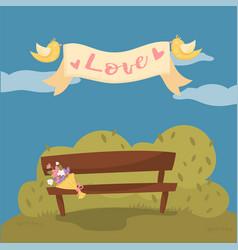 Wooden bench in the park pair of flying birds vector