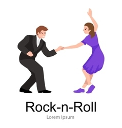 young couple dancing lindy hop or swing vector image
