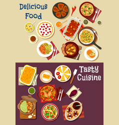 mediterranean and asian cuisine icon set design vector image vector image