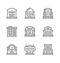 Set line icons of buildings vector