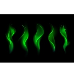 Set of different magic green fire flame vector