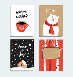 set of hand drawn christmas greeting cards vector image vector image
