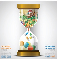 Vitamin And Nutrition Food With Sandglass vector image