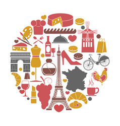 france travel sightseeing icons and vector image vector image