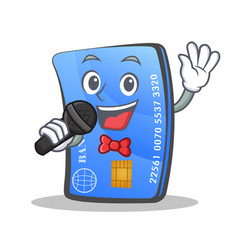 karaoke credit card character cartoon vector image vector image