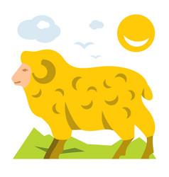 mountain sheep flat style colorful cartoon vector image vector image