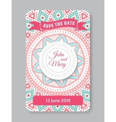 Perfect wedding template with doodles tribal theme vector image