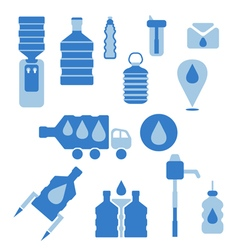 Set of icons for theme bottled water flat design vector