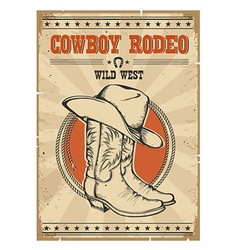 Cowboy rodeo posterWestern vintage with text vector image vector image