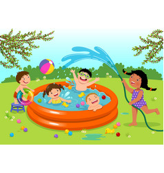 joyful kids playing in inflatable pool in the vector image vector image