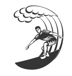 Vintage logo Men surfing on big wave Surfboard vector image vector image