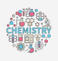 Chemistry round colorful vector