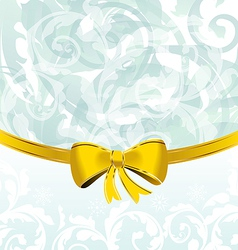 Christmas floral packing or background with bow vector image vector image