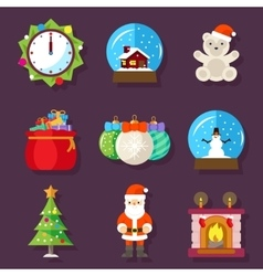 New year and christmas flat design icons vector