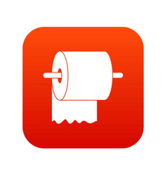 roll of toilet paper on holder icon digital red vector image vector image