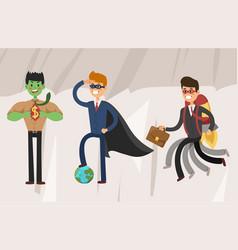 superhero business man set vector image vector image
