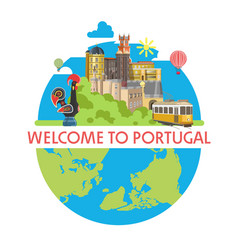 welcome to portugal promotional poster with local vector image vector image