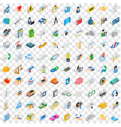 100 firm icons set isometric 3d style vector