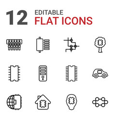 12 cpu icons vector image