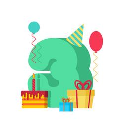 3 year happy birthday greeting card 3th vector image