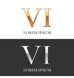 6 VI Luxury Gold and Silver Roman numerals sign vector