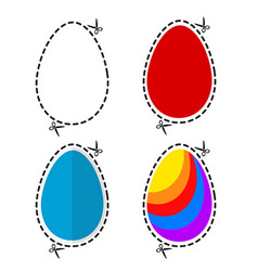 A cut out colored ester eggs symbol shape with vector