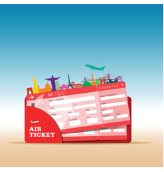 air ticket travel with icon in red vector image