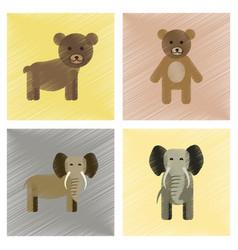Assembly flat shading style icons bear elephant vector