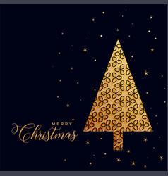 beautiful decorative golden christmas tree on vector image