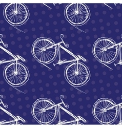 Bicycle seamless pattern on a colored background vector image