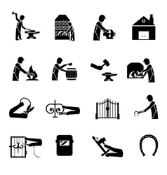 Blacksmith Icons Black vector image