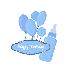 blue bottle with slots and label on white vector image