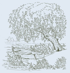 Boat on lake under willow vector